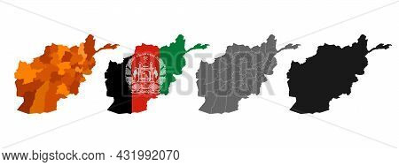 Vector Set Of Maps And Provinces Of Afghanistan. Outline Of The State Border On A White Background I