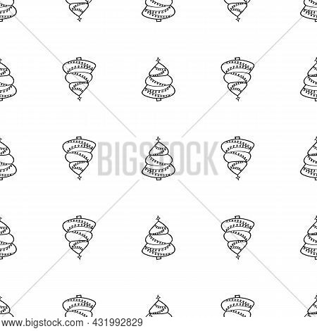 Christmas Trees Doodle Pattern. Christmas Tree Decorated With Christmas Decorations And Garlands. Bl
