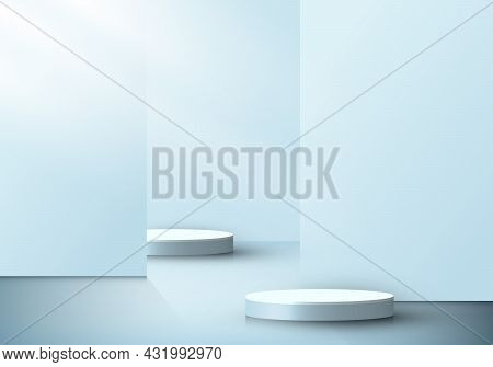 3d Realistic Cylinder Podiums Interior Room With Soft Blue Part Partition Or Backdrop And Lighting M