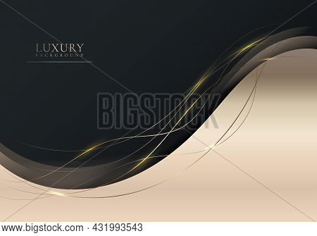 Abstract Elegant Shiny Golden Gradient Wave Shape With Gold Wave Line And Lighting On Black Backgrou