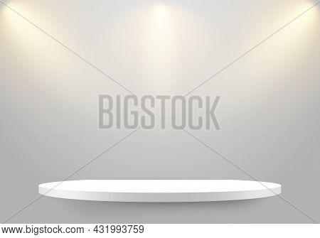 3d Empty White Shelf On Clean Wallpaper Background With Lighting Spotlight. Minimal Mockup Design Fo