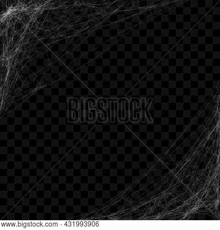 Realistic Hanging Spider Web. Cobweb Frame For Halloween Design. Vector Illustration.