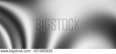 Silver Fabric Texture Background With Soft Wave. Abstract Gray Creases. Wave Pattern Background. 3D