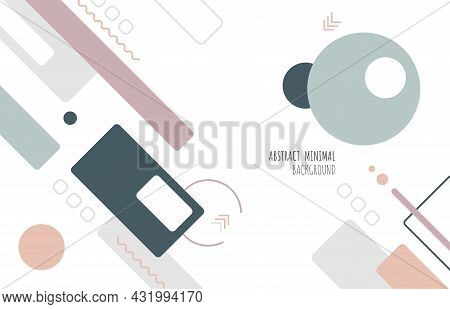 Abstract Geometric Minimal Design Of Cover Style Soft Color Tone. Decorating With Copy Space For Tex