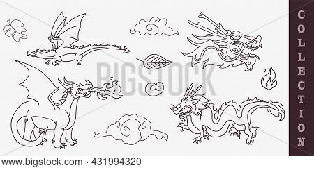 Mythical Dragon Digital Motif Collection. Vector Illustration Of Fairy Tale Beast In Set For Cartoon