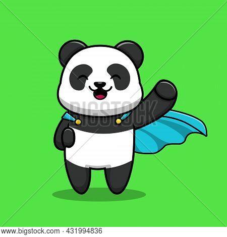 Cute Panda Hero Cartoon Vector Icon Illustration. Animal Hero Icon Concept Isolated Premium Vector.