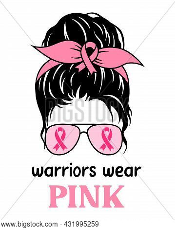 World Breast Cancer Day. Messy Bun With Pink Ribbons. Symbol Of The Fight Against Breast Cancer.