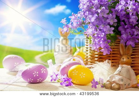 Art Easter Bunny And Easter Eggs