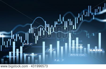 Financial Rising Graph And Chart With Numbers, Bar Diagrams, Lines That Illustrate Investment Manage
