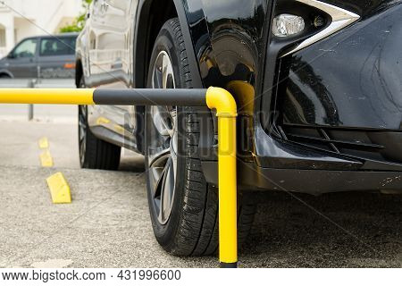 Car Accident On The Parking. For Car Repair Or Car Insurance Concept. Kasko Insurance Concept