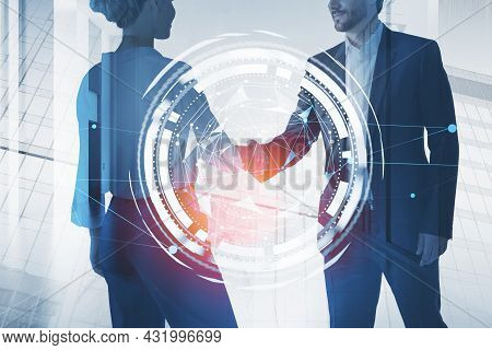 Businessman Wearing Formal Suit Shakes Hands With Businesswoman In White Shirt. City Skyscraper In T