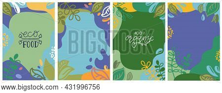 Abstract Square Eco Template. Bio Leaves, Water Drops. Ecology Floral, Geometric Elements. Ecologica
