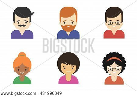 People Icons In Color Isolated On White Background. Signs Of A Man And A Woman In Different Versions