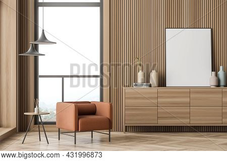 Orange Armchair With Minimalist Interior Items, A White Poster, Standing On A Wood Sideboard Near Th