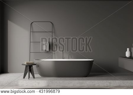 Modern Minimalist Details Of The Grey Bathroom Area Interior With The Oval Bathtub And Darker Trendy
