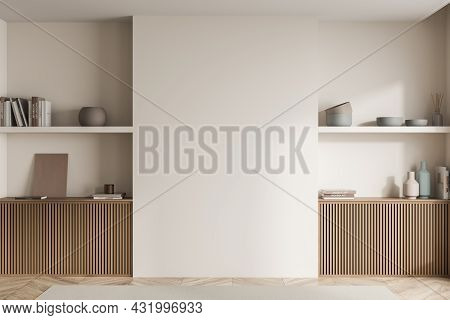 Bedroom Beige Wall Interior With Wooden Basement Ledges Of Two Symmetric Niches And Simple Shelves W