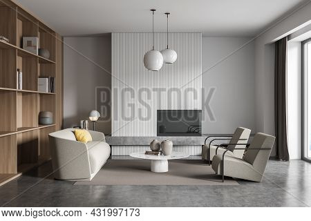 White And Grey Living Room With Beige Sofa And Armchairs, Coffee Table, Two Lamps, Wood Shelving And