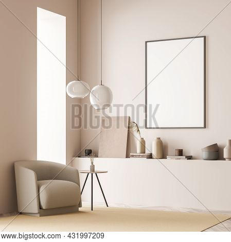 Corner View Of The Living Room Interior With Pendant Lamps Above The Armchair With Coffee Table And
