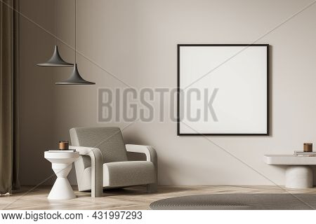 Beige Living Room Interior With A Square Poster, Two Pendant Lamps And One Armchair With White Coffe