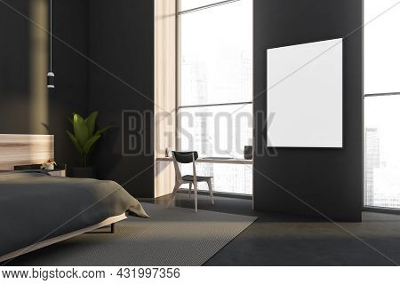 Canvas Between Panoramic Areas Of A Dark Grey Bedroom Interior With A Desk In A Window Niche, A Pend