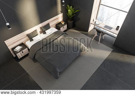 Top View Of A Grey Bedroom Interior With Two Pendant Lights, Wooden Bed With Two Night Tables, A Nic