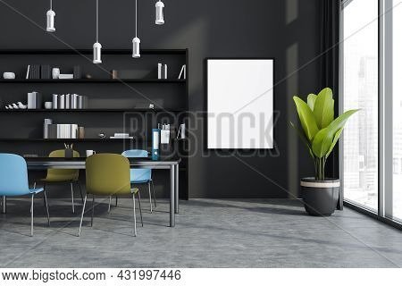 Canvas In The Grey Office Interior With The Discussion Table, Bright Chairs, A Shelving And Pendant