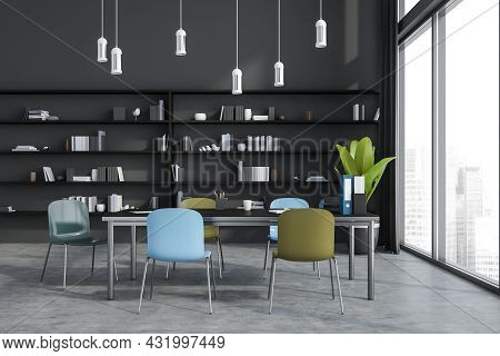 Modern Home And Office Interior With The Bright Chairs Next To The Collaboration Table, Pendant Ligh