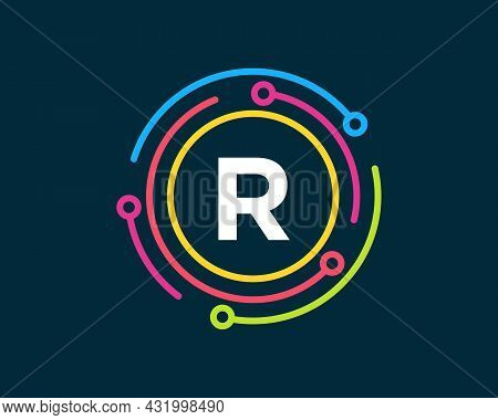 Technology Logo Design With R Letter Concept. Letter R Technology Logo. Network Logo Design