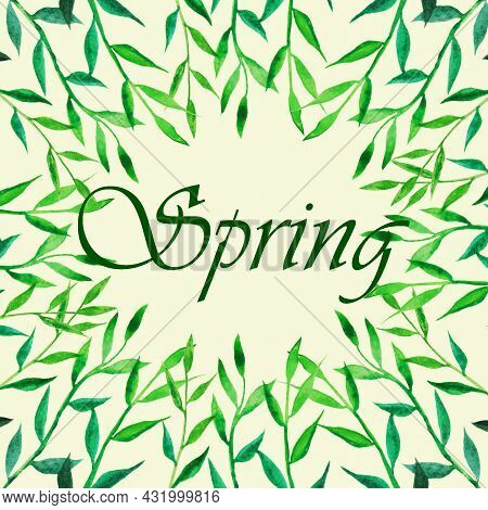 The Grass Is Green, The Stem With Petals Grows In Springю Frame Made Of Grass With The Inscription I