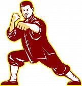 Illustration of shaolin kung fu martial arts karate master in fighting stance on isolated background done in retro style. poster