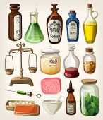 Set of vintage apothecary and medical vector supplies poster