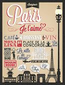 Paris Typographical Background With Landmarks And Buildings poster