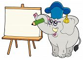 Writing elephant teacher with tablet - vector illustration. poster