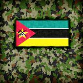 Amy camouflage uniform with flag on it Mozambique poster