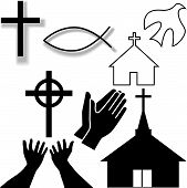 Churches crosses holy spirit dove fish symbol hands praying and in supplication as a Christian Symbol Icons Set. poster