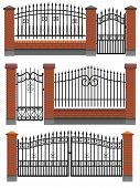 Vector gate wicket and fences with red brick columns and a metal lattice isolated on white. poster