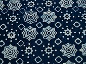 Blue batik fabric with repettition pattern as background from Yogyakarta Indonesia poster