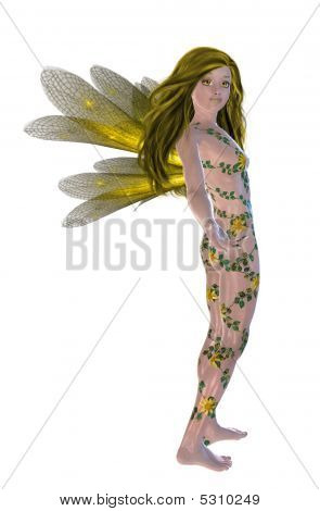Yellow flower fairy standing up on a white background poster