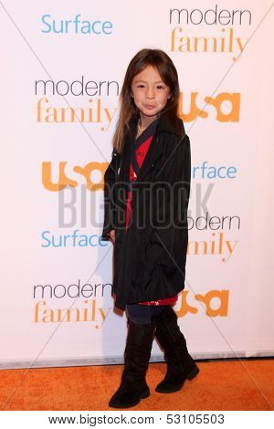 LOS ANGELES - OCT 28:  Aubrey Anderson-Emmons at the Modern Family on USA Network Fan Appreciation Event at Village Theater on October 28, 2013 in Westwood, CA