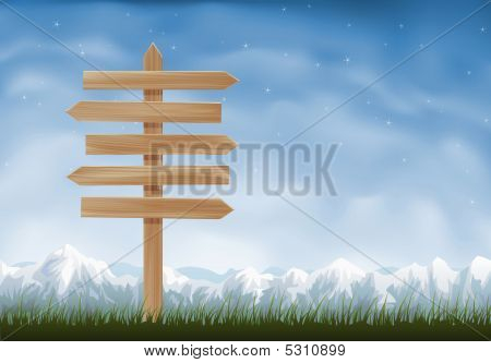 Wooden Arrows Sign Post