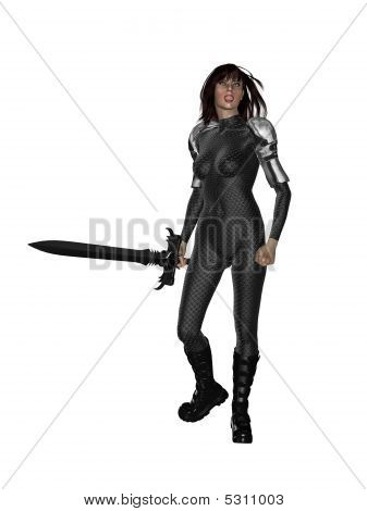 Woman standing holding a sword on a white background poster
