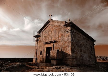 Very Old Chapel In Mountain