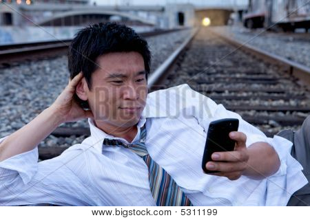 Cell Phone Call On Train Tracks