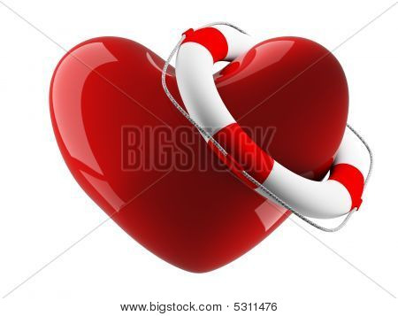 Heart And Life Buoy On A White Background. Isolated 3D Image