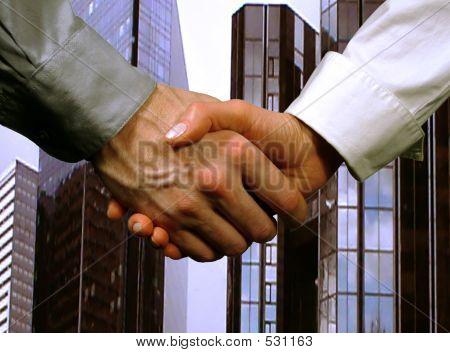 Business Handshake ,woman And Man (gray Background)