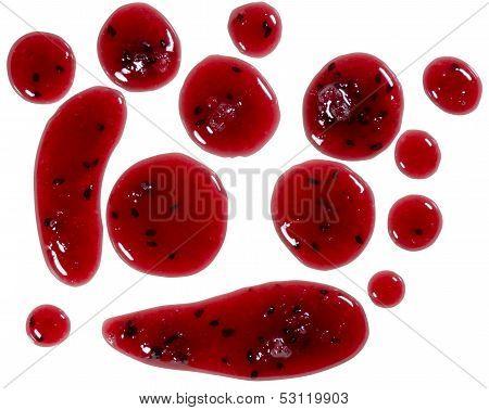 Jam splatters isolated on white
