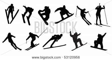 silhouette of people winter sport