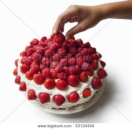 Strawberry And Raspberry Cake