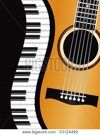 Piano Keyboards Wavy Border with Acoustic Guitar Closeup Background Illustration poster