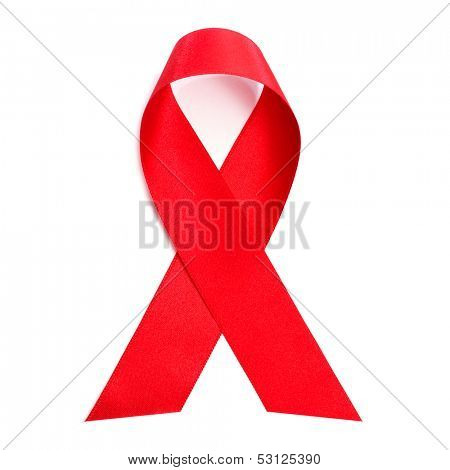 a red ribbon for the fight against AIDS on a white background
